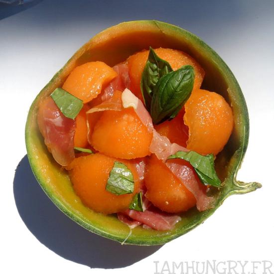 Salade de melon et jambon de Parme