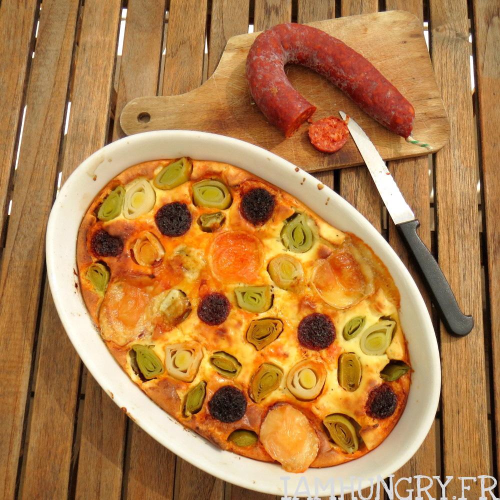 Gâteau aux poireaux chorizo et chèvre