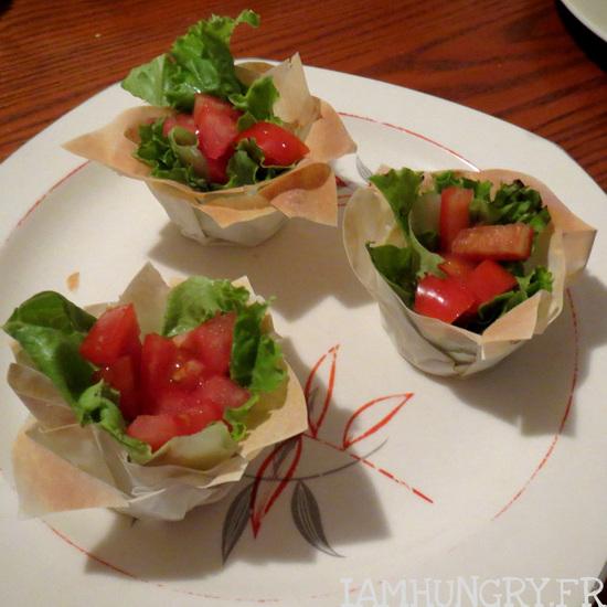 Petites salades de pâte filo