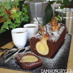 Gateau chocolat poires carre