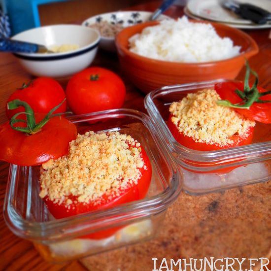 Tomates farcies, façon crumble