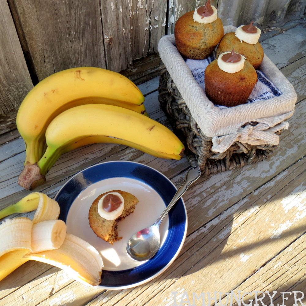 Muffins aux bananes et cœur de nutella