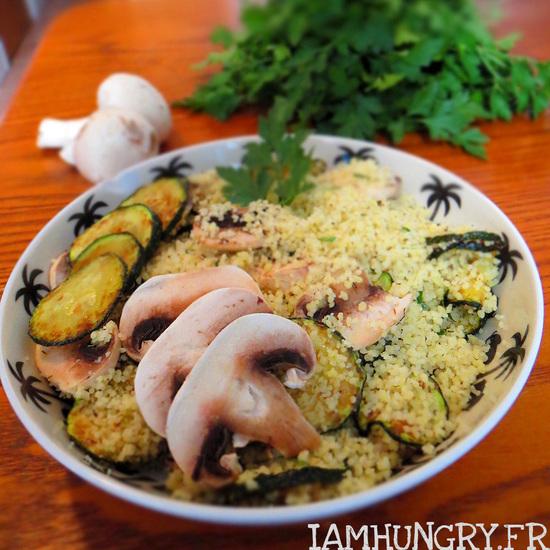 Taboulé de courgettes et champignons