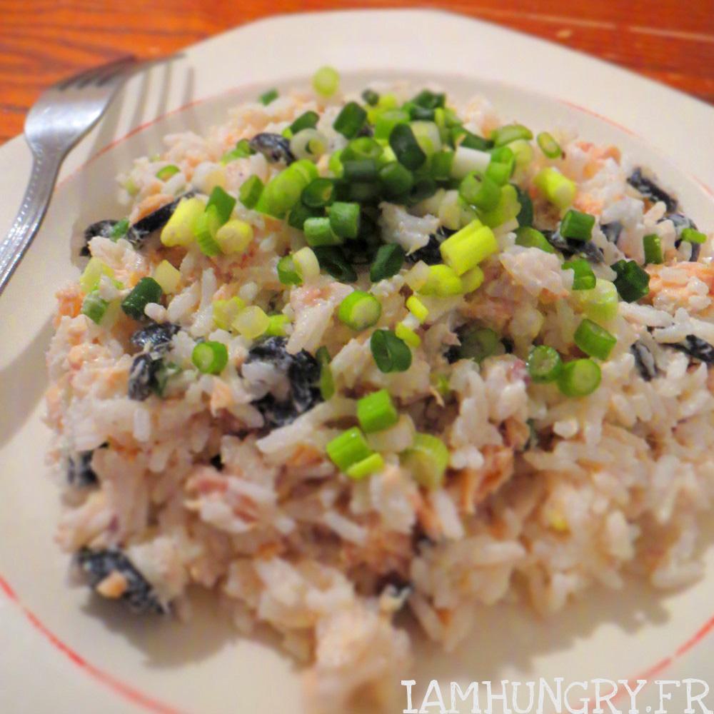 Salade de riz au saumon et à la ciboule