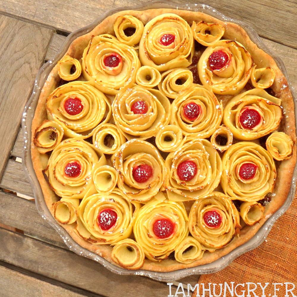 Tarte aux pommes façon bouquet de roses