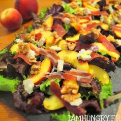 Salade peche roquefort noix