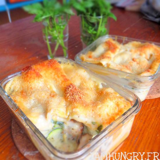 Lasagnes végétariennes aux courgettes, champignons et pesto