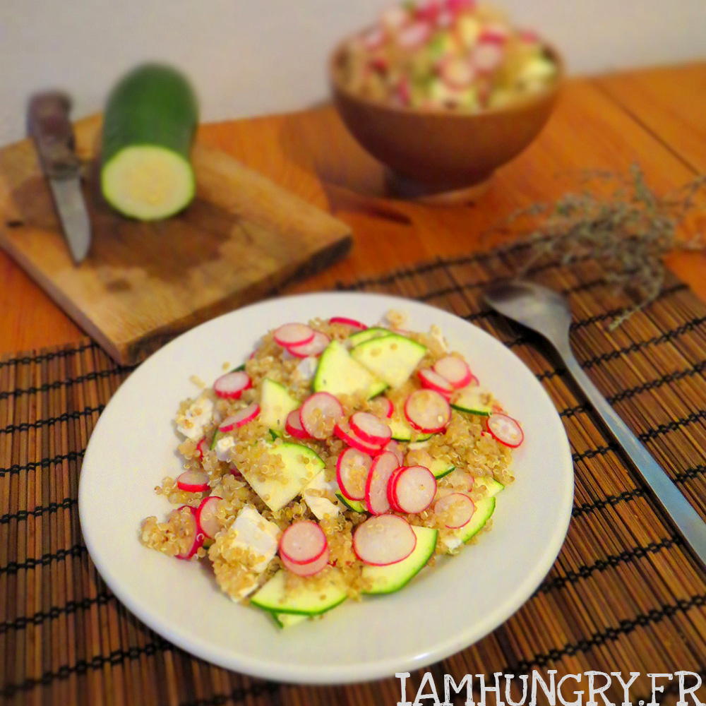 Salade de quinoa courgette radis et féta