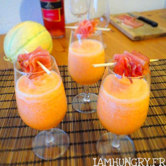 Apéritif de melon et jambon fumé à boire