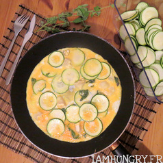 Omelette chevre courgette menthe1