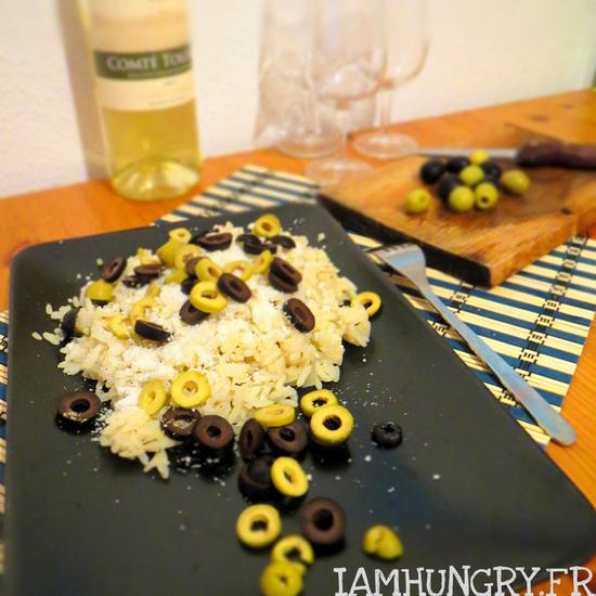 Risotto au parmesan et olives noires