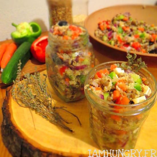 Salade de crudités au quinoa et lentilles