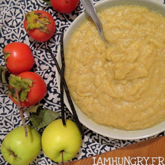 Compote de pommes kaki et vanille