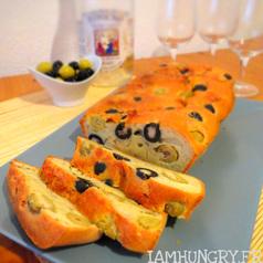 Cake aux deux olives et chevre