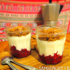 Verrines framboises fromage blanc speculoos