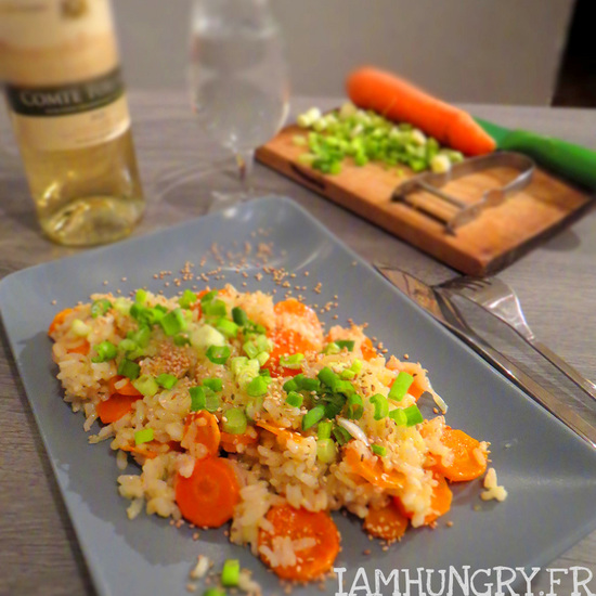 Risotto aux carottes et oignons verts
