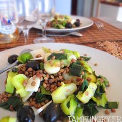 Salade de lentilles poireaux parmesan