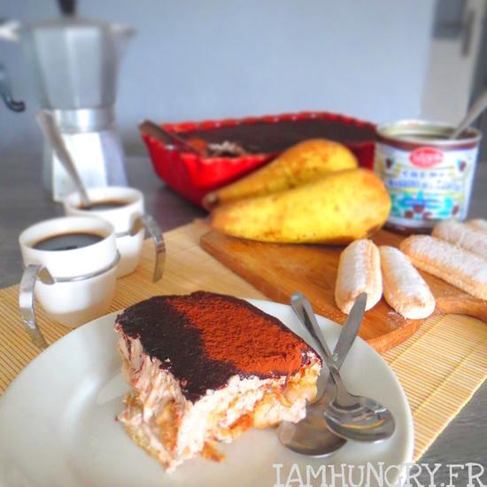 Tiramisu aux poires et crème de marrons