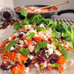 Poelee de riz lentilles carottes feta menthe