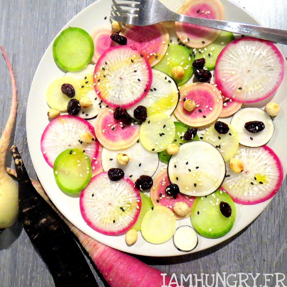 Salade de radis multicolores