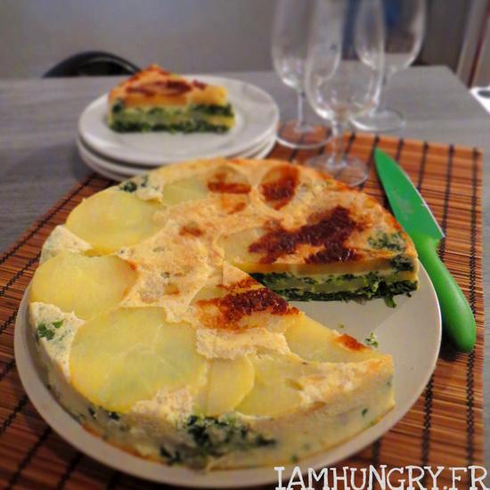 Gâteau de pommes de terre aux épinards et au roquefort