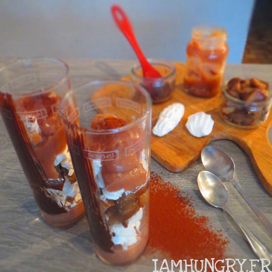 Verrines de poires meringues et crème de marron