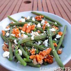 Salade de haricots verts feta et noix