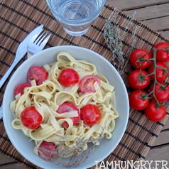 Tagliatelles au roquefort et tomates cerises