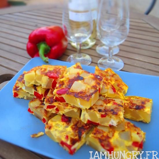 Tortillas de pommes de terre et poivrons rouges