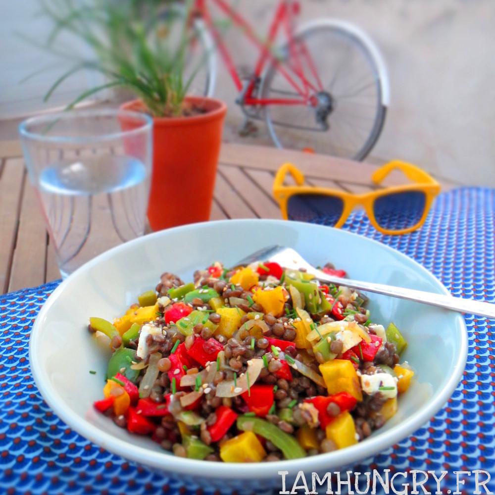Salade de lentilles aux poivrons grillés