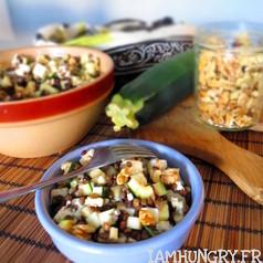 Salade lentilles courgettes feta noix
