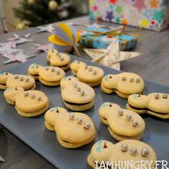 Macaron bonhommes de neige 1