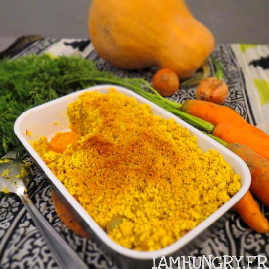 Crumble courge carottes au curcuma