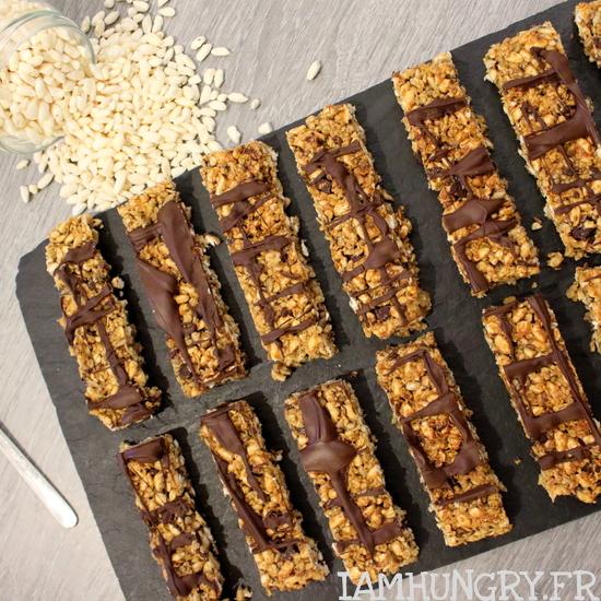 Barres de céréales au riz soufflé tahini et chocolat