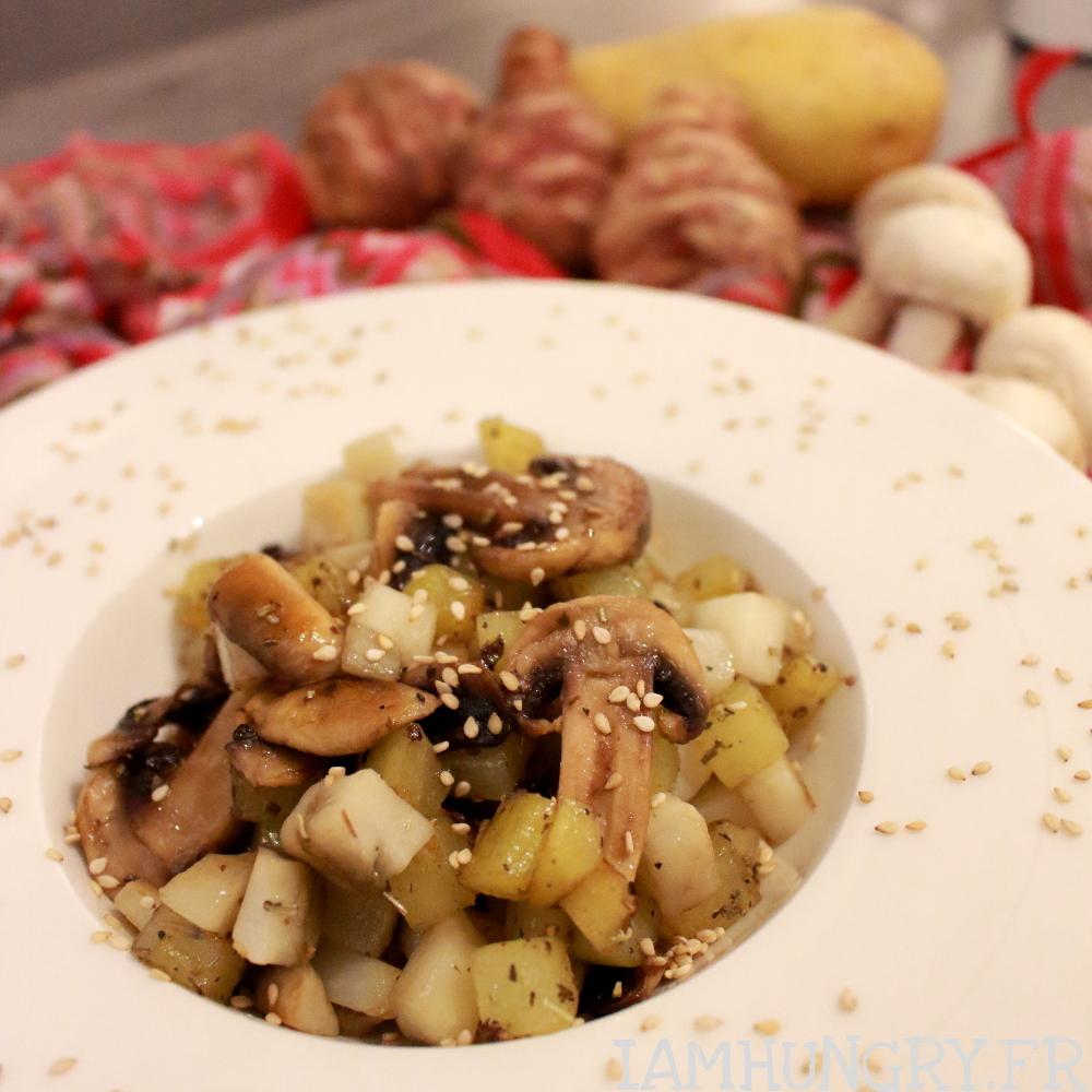 Poêlée de topinambours patates et champignons