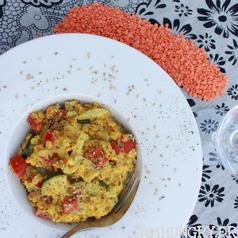Lentilles corail courgette et poivrons 1a