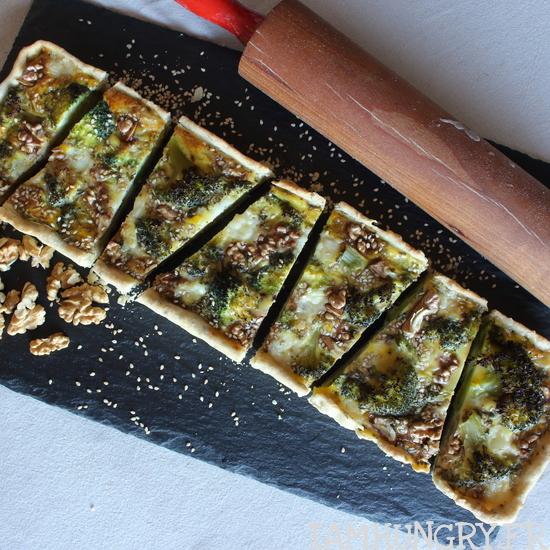 Quiche brocolis noix et féta