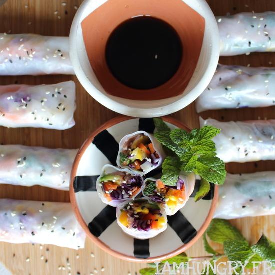 Rouleaux de printemps aux vermicelles de riz rouge choux rouge et avocat