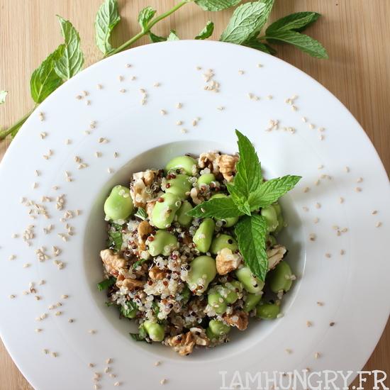 Salade de quinoa aux fêves fraiches