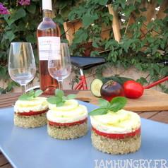 Mille feuilles quinoa che%cc%80vre frais tomates 1
