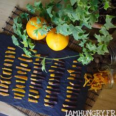 Ecorces d oranges chocolat carre