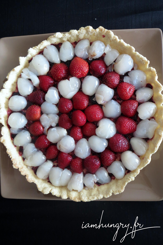 Tarte letchis fraises