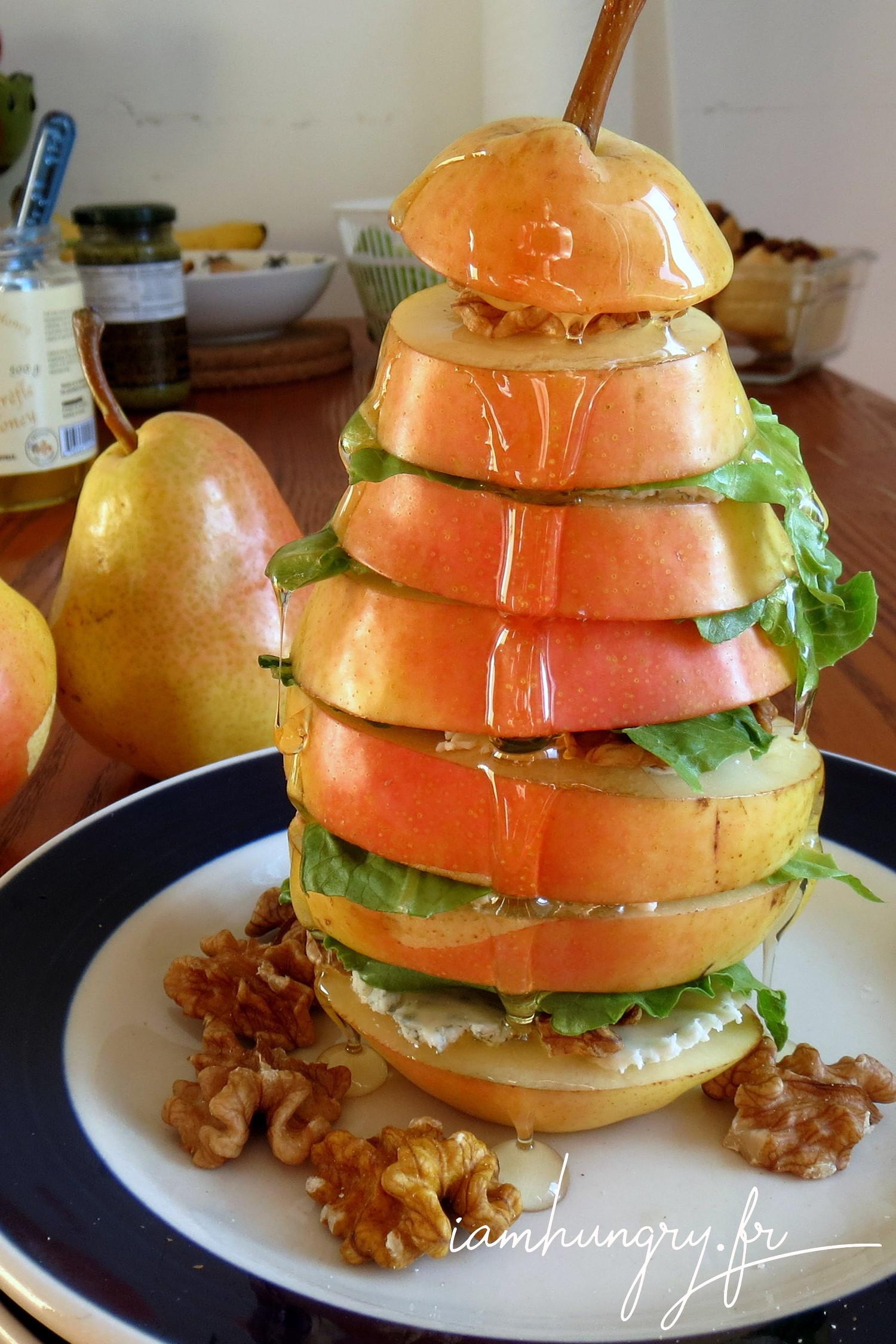Mille-feuille de poire roquefort noix et miel
