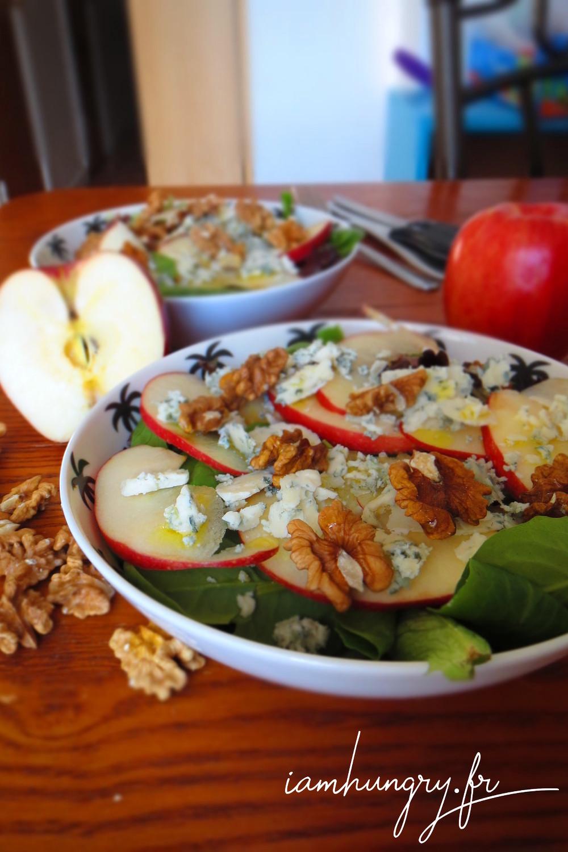 Salade pomme roquefort noix