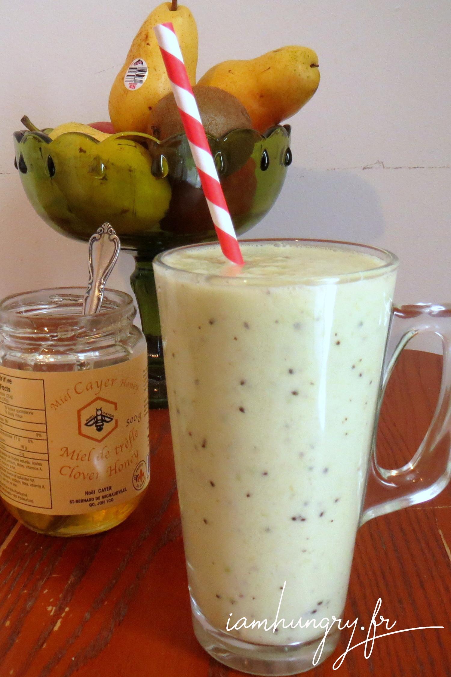 Milkshake poire kiwi miel