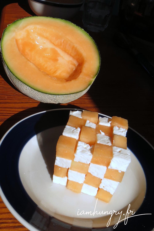 Cube melon feta