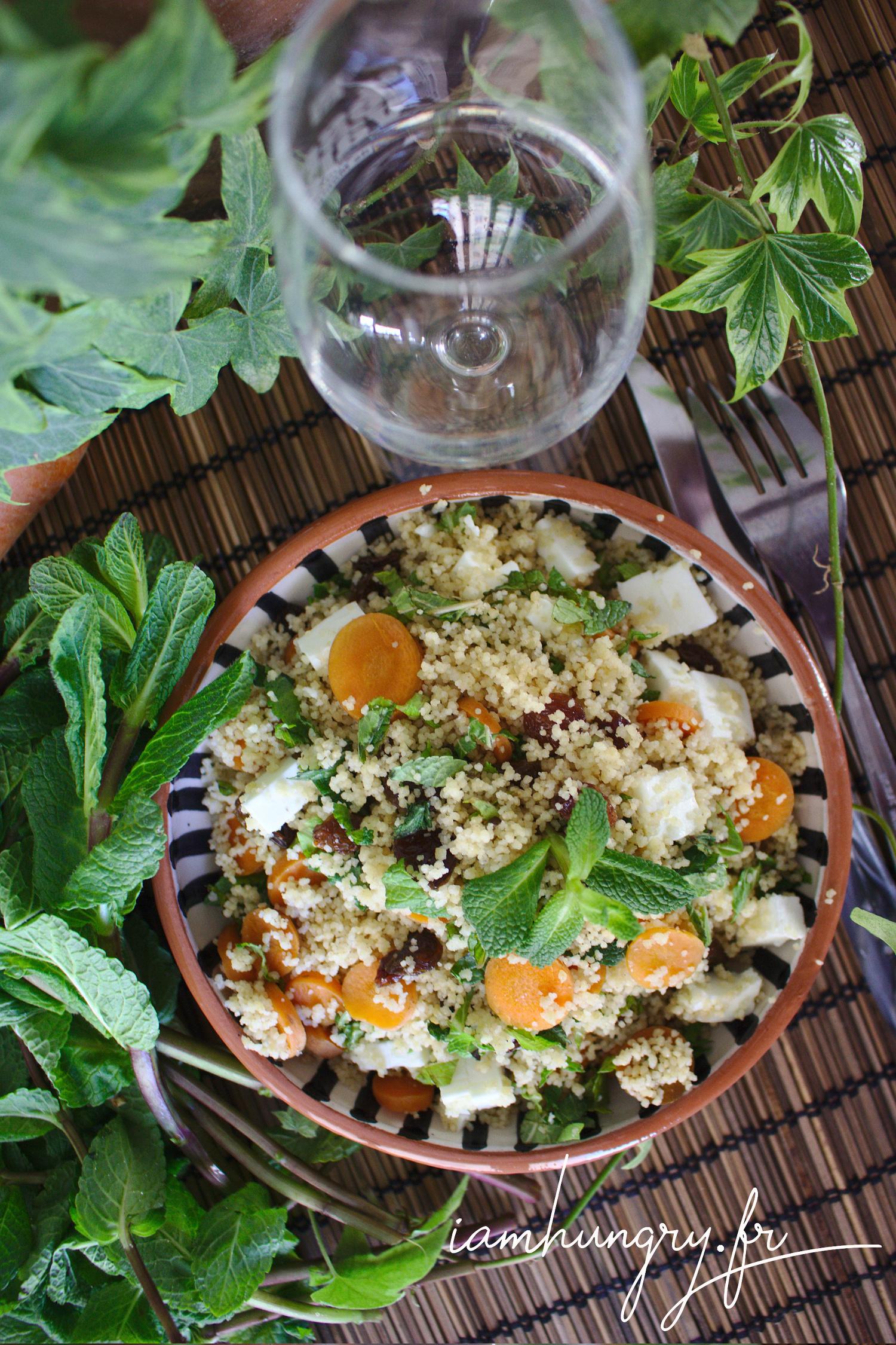Taboulé à la carotte, féta et menthe