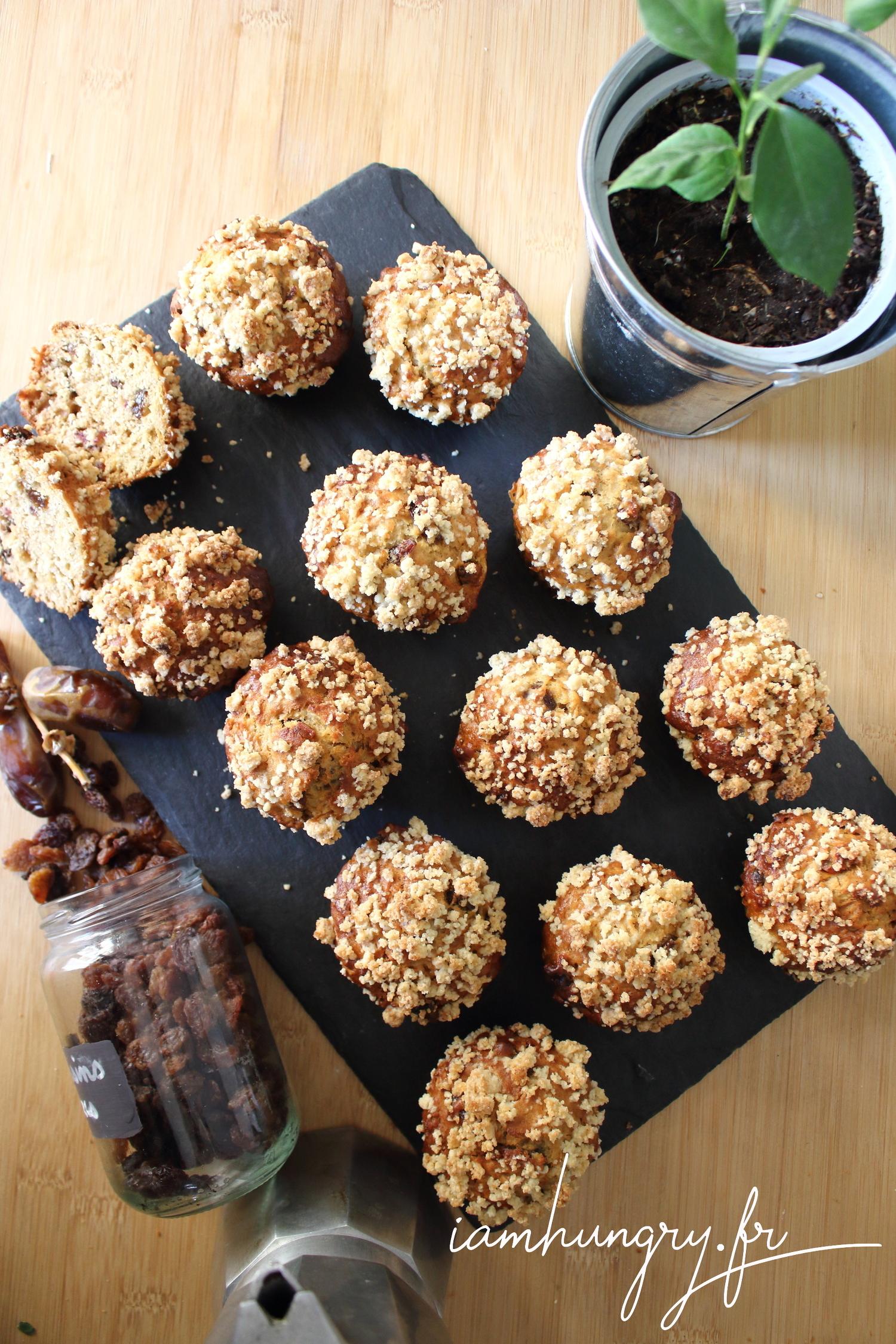 Muffins à l'érable aux dattes et raisins secs
