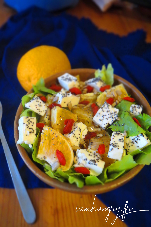 Salade d'oranges à la féta et aux baies de goji