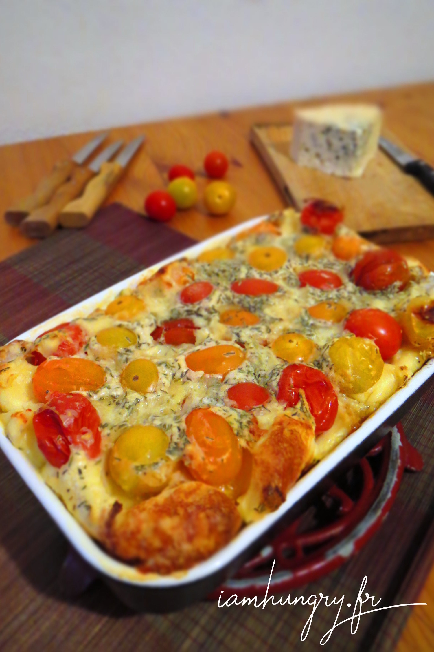 Clafoutis aux tomates cerises et roquefort